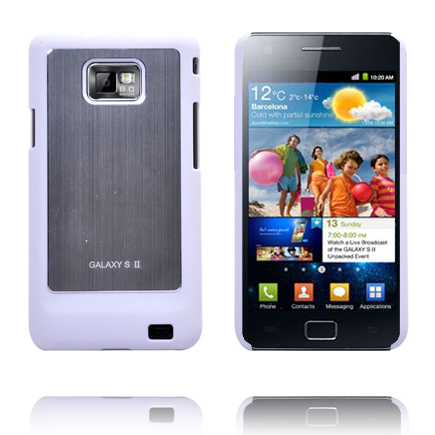 Galaxy S2 Alu Skal (Vit Kant) Samsung Galaxy S2 Skal
