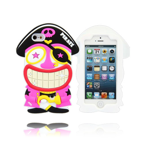 Funny Pirate (Vit) iPhone 5 & 5S Silikonskal