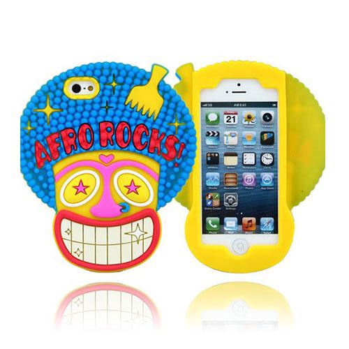 Funny Afro (Gult) iPhone 5S Silikonskal