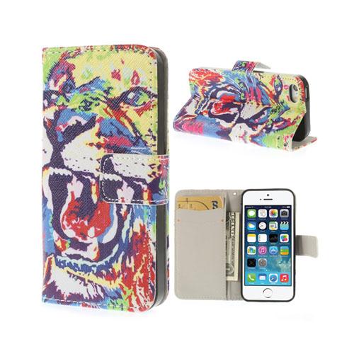 Circus (Färgglad Tiger) iPhone 5/5S Flip-Fodral