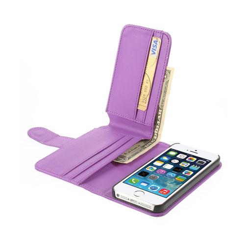 MultiWallet (Lila) iPhone 5/5S Läderfodral / Plånbok