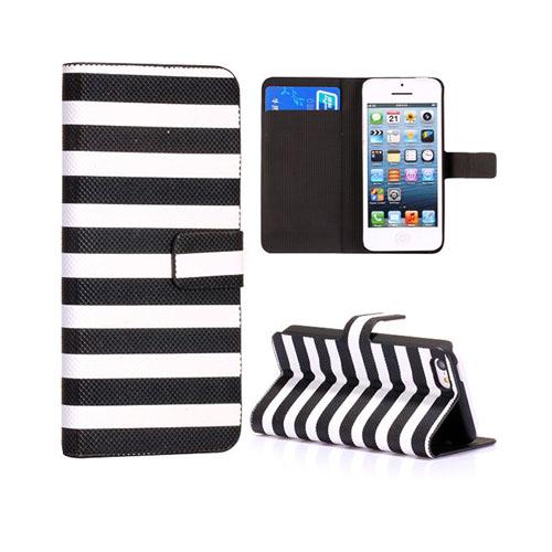 Stripes (Vit/Svart) iPhone 5C Läderfodral