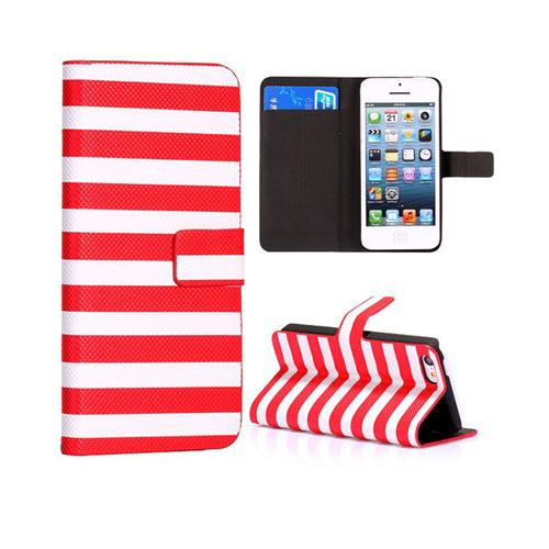 Stripes (Röd/Vit) iPhone 5C Läderfodral