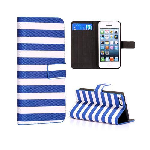 Stripes (Blå/Vit) iPhone 5C Läderfodral