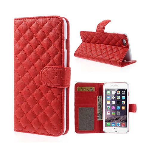 Mellvig (Röd) iPhone 6 Plus Diamond Stitch Flip Fodral
