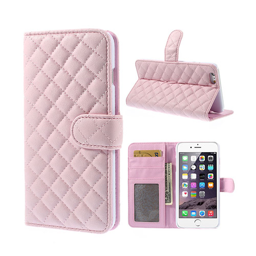 Mellvig (Rosa) iPhone 6 Plus Diamond Stitch Flip Fodral