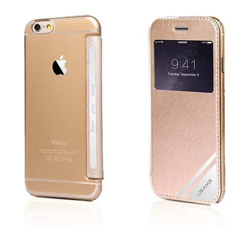 Usams Viva (Guld) iPhone 6 Plus Flip-Fodral