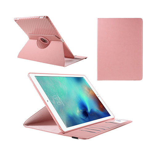 Jessen – Ljusrosa – iPad Pro 12.9 Avtagbar Smart Roterbart Ställ Läderfodral