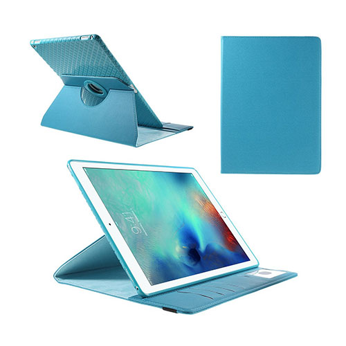 Jessen – Ljusblå – iPad Pro 12.9 Avtagbar Smart Roterbart Ställ Läderfodral