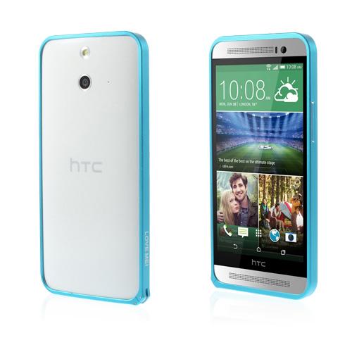 LOVE ME! (Ljusblå) HTC One (E8) Metall-Bumper