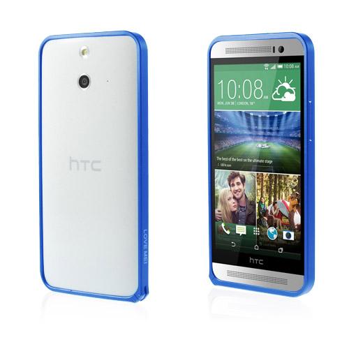 LOVE ME! (Mörkblå) HTC One (E8) Metall-Bumper