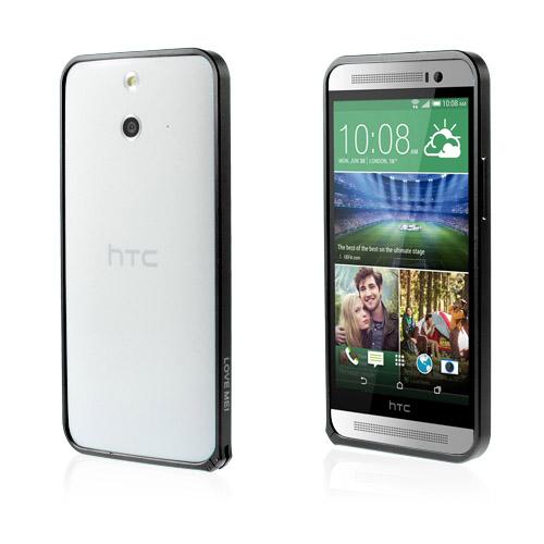 LOVE ME! (Svart) HTC One (E8) Metall-Bumper