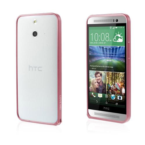LOVE ME! (Röd) HTC One (E8) Metall-Bumper
