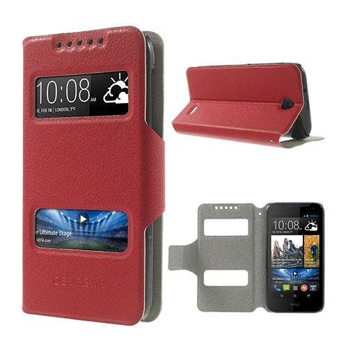 Lander (Röd) HTC Desire 310 Läder Flip Fodral
