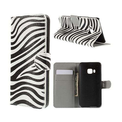 Moberg HTC One M9 Läder Fodral med Korthållare – Zebra Ränder