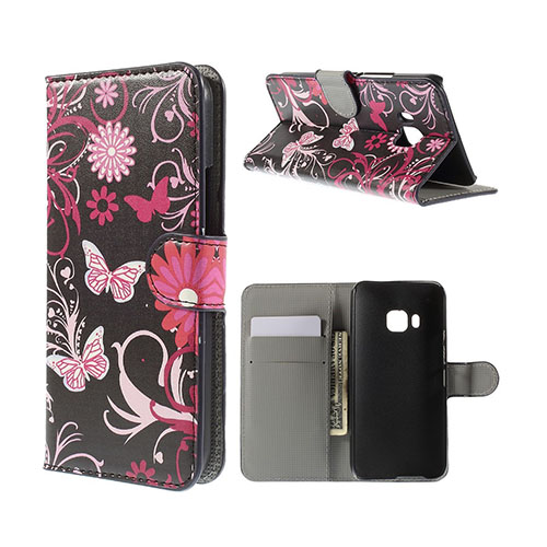 Moberg HTC One M9 Läder Fodral med Korthållare – Fjäril och Blommor