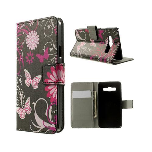 Moberg Samsung Galaxy A3 Läder Fodral med Korthållare – Fjärilar Blommor