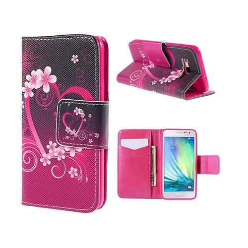 Moberg Samsung Galaxy A3 Läder Plånbok Fodral – Hjärtan Blomma