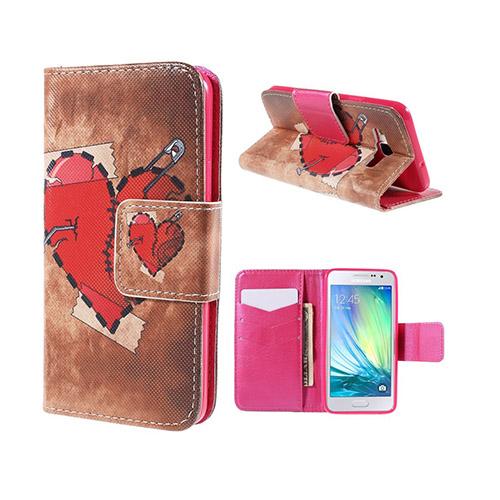 Moberg Samsung Galaxy A3 Läder Plånbok Fodral – Röd Hjärta