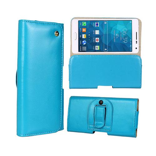 Gaarder Påse (Ljus Blå) Samsung Galaxy A7 ÄKTA Läder Bältes Fodral