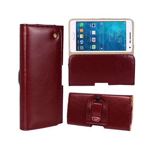 Gaarder Påse (Vin Röd) Samsung Galaxy A5 ÄKTA Läder Bältes Fodral