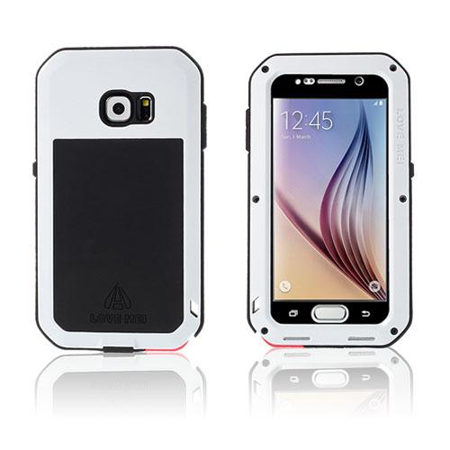 LOVE ME! Samsung Galaxy S6 Metall + Silikon + Gorilla Glass Skal – Vit