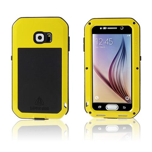 LOVE ME! Samsung Galaxy S6 Metall + Silikon + Gorilla Glass Skal – Gul