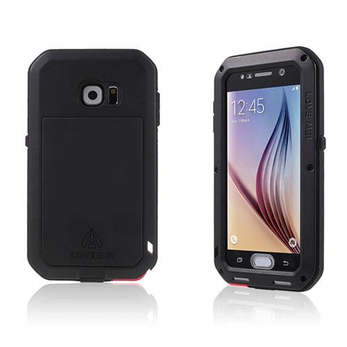 LOVE ME! Samsung Galaxy S6 Metall + Silikon + Gorilla Glass Skal – Svart