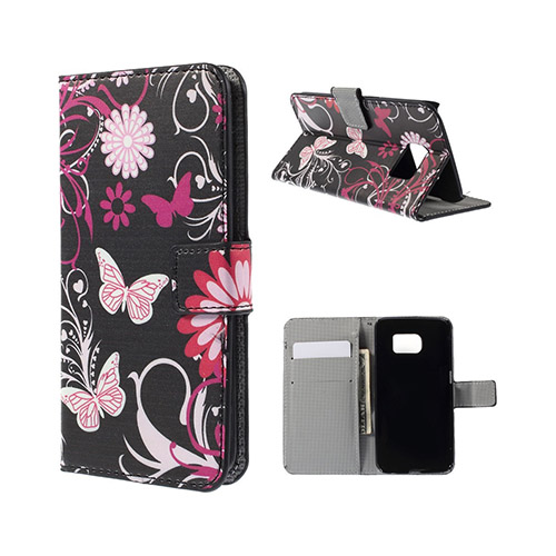 Moberg Samsung Galaxy S6 Edge Plånbok Fodral – Fjärilar & Blommor
