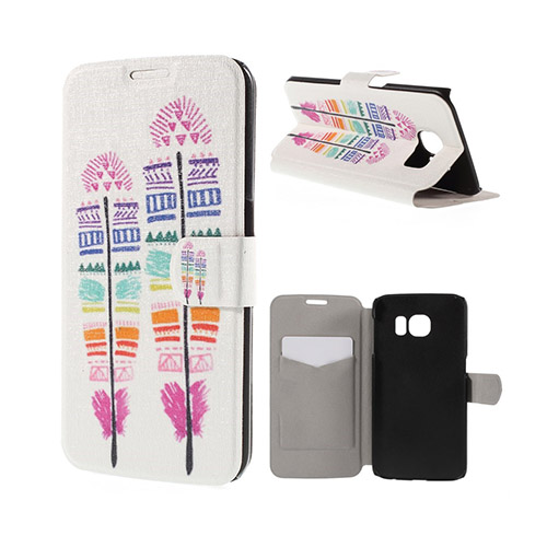 Moberg Samsung Galaxy S6 Edge Plånbok Fodral – Färgade Fjädrar