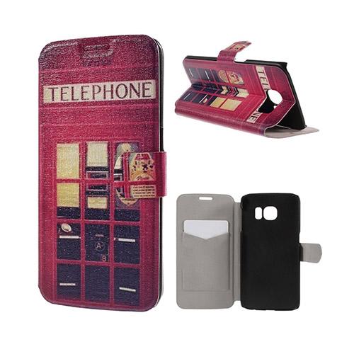 Moberg Samsung Galaxy S6 Edge Plånbok Fodral – Röd Telefonhytt