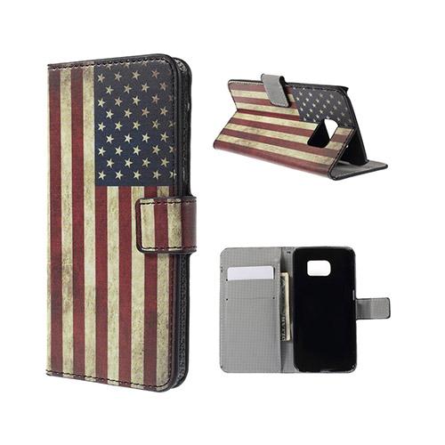Moberg Samsung Galaxy S6 Edge Plånbok Fodral – Vintage USA Flagga
