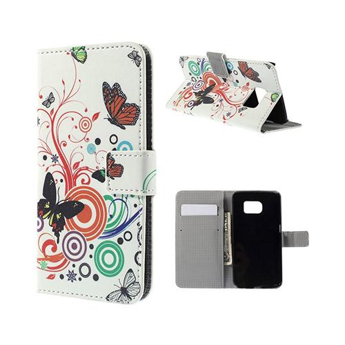 Moberg Samsung Galaxy S6 Edge Plånbok Fodral – Fjärilar & Cirklar