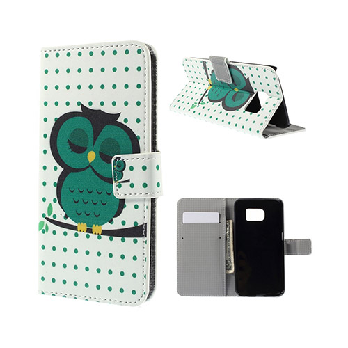 Moberg Samsung Galaxy S6 Edge Plånbok Fodral – Grön Sovande Uggla