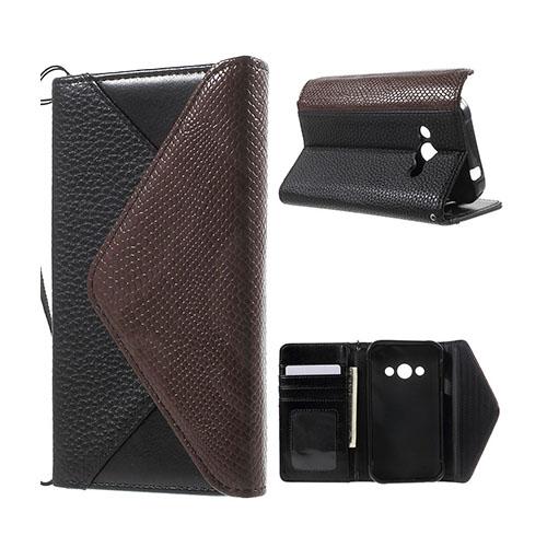 Samsung Galaxy Xcover 3 Kuvert Läderfodral med Korthållare – Svart/Brun