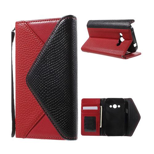 Samsung Galaxy Xcover 3 Kuvert Läderfodral med Korthållare – Röd/Svart