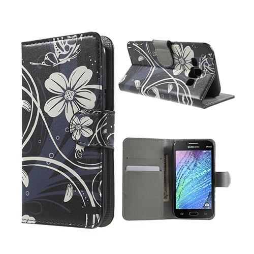 Moberg (Vita Blommor) Samsung Galaxy J1 Fodral