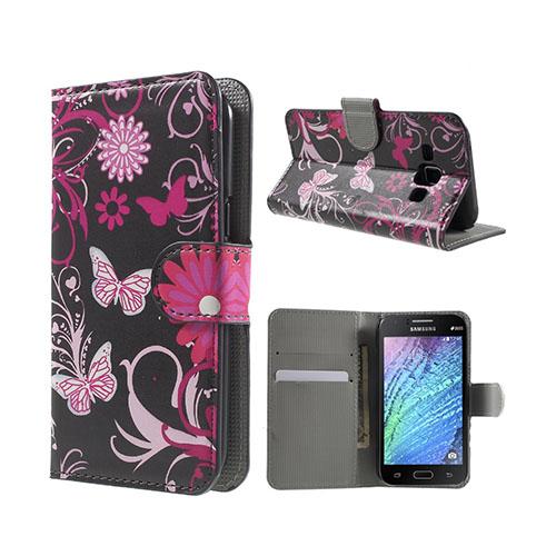 Moberg (Rosa Fjärilar & Blommor) Samsung Galaxy J1 Fodral