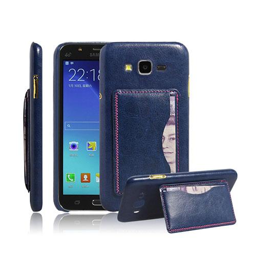 Retro Samsung Galaxy J5 Skal med Korthållare – Blå