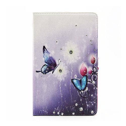 Moberg Samsung Galaxy Tab E 9.6 Läderfodral med Stativ – Fjäril och Blommor