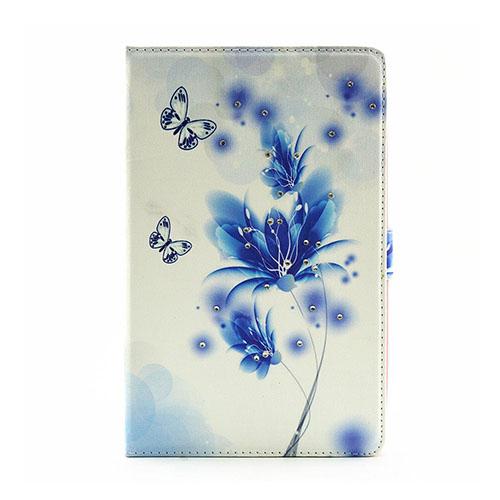 Moberg Samsung Galaxy Tab E 9.6 Läderfodral med Stativ – Blå Blomning och Fjärilar