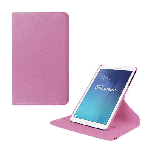 Jessen Samsung Galaxy Tab E 9.6 Roterande Läderfodral med Stativ – Ljus Rosa