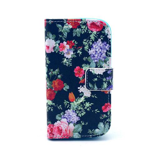 Moberg Samsung Galaxy Trend Läder Flip Fodral – Söta Färgglada Blommor