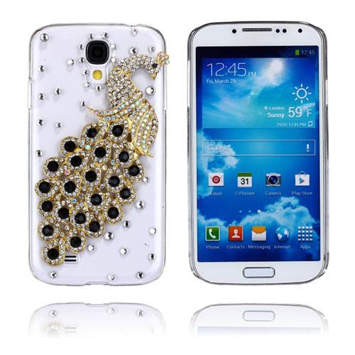 Luxury Bling (Guld & Svart Påfågel) Samsung Galaxy S4 Skal