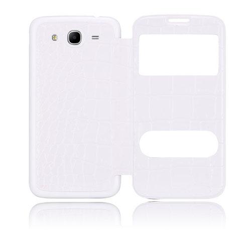 Croco Flip (Vitt) Samsung Galaxy Mega 5.8 Utbytbart Bakskal
