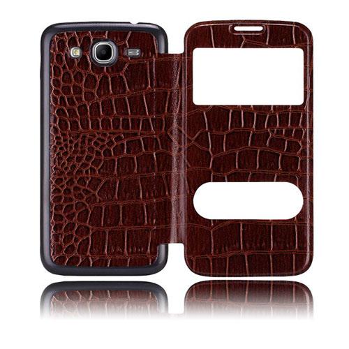 Croco Flip (Brun) Samsung Galaxy Mega 5.8 Utbytbart Bakskal