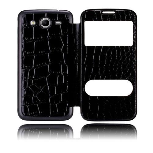 Croco Flip (Svart) Samsung Galaxy Mega 5.8 Utbytbart Bakskal