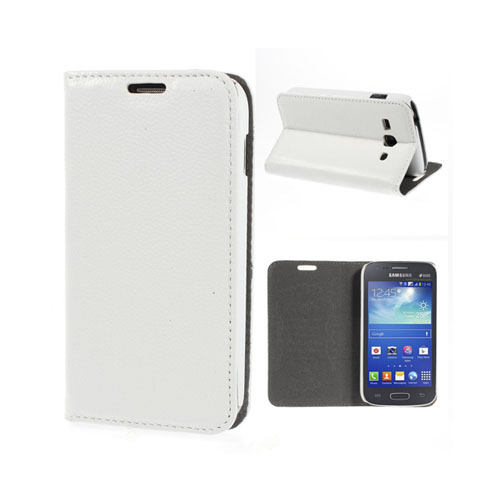 Lindgren (Vit) Samsung Galaxy Ace 3 Äkta Läder Stativ Fodral