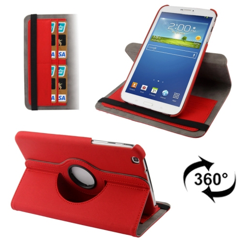 3-Sextio (Röd) Samsung Galaxy Tab 3 8.0 Läderfodral