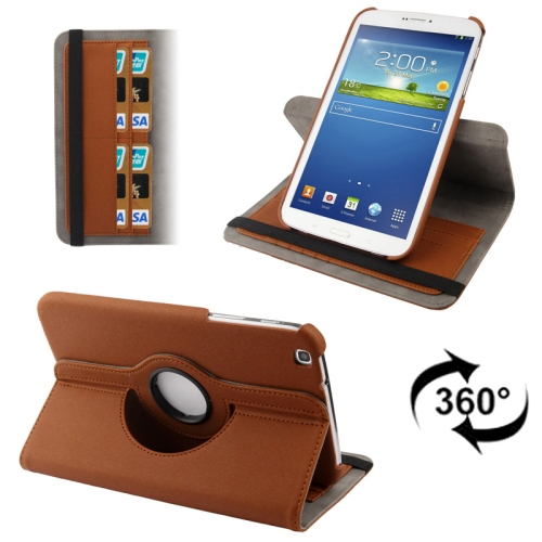 3-Sextio (Brun) Samsung Galaxy Tab 3 8.0 Läderfodral